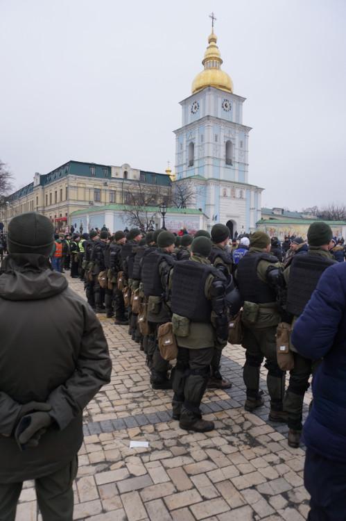 Antifa-Demo in Kiew, 19.01.2020: Direkt vor dem Michaels-Kloster demonstrierten ukrainische Antifaschisten gegen rechte Gewalt. | Foto: © Bernhard Clasen